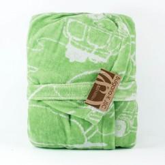 Детски халат Колички Зелен